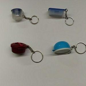 Set of 4 Vintage Tupperware Keychains